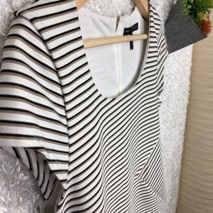WHBM Striped Back Zip Cap Sleeve Shell Top Size 0